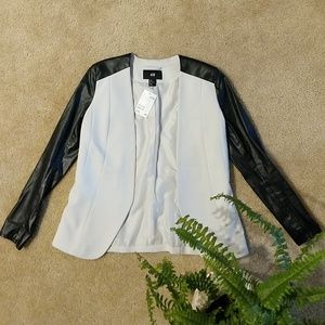 NWT H&M Faux Leather Gray and Black Blazer